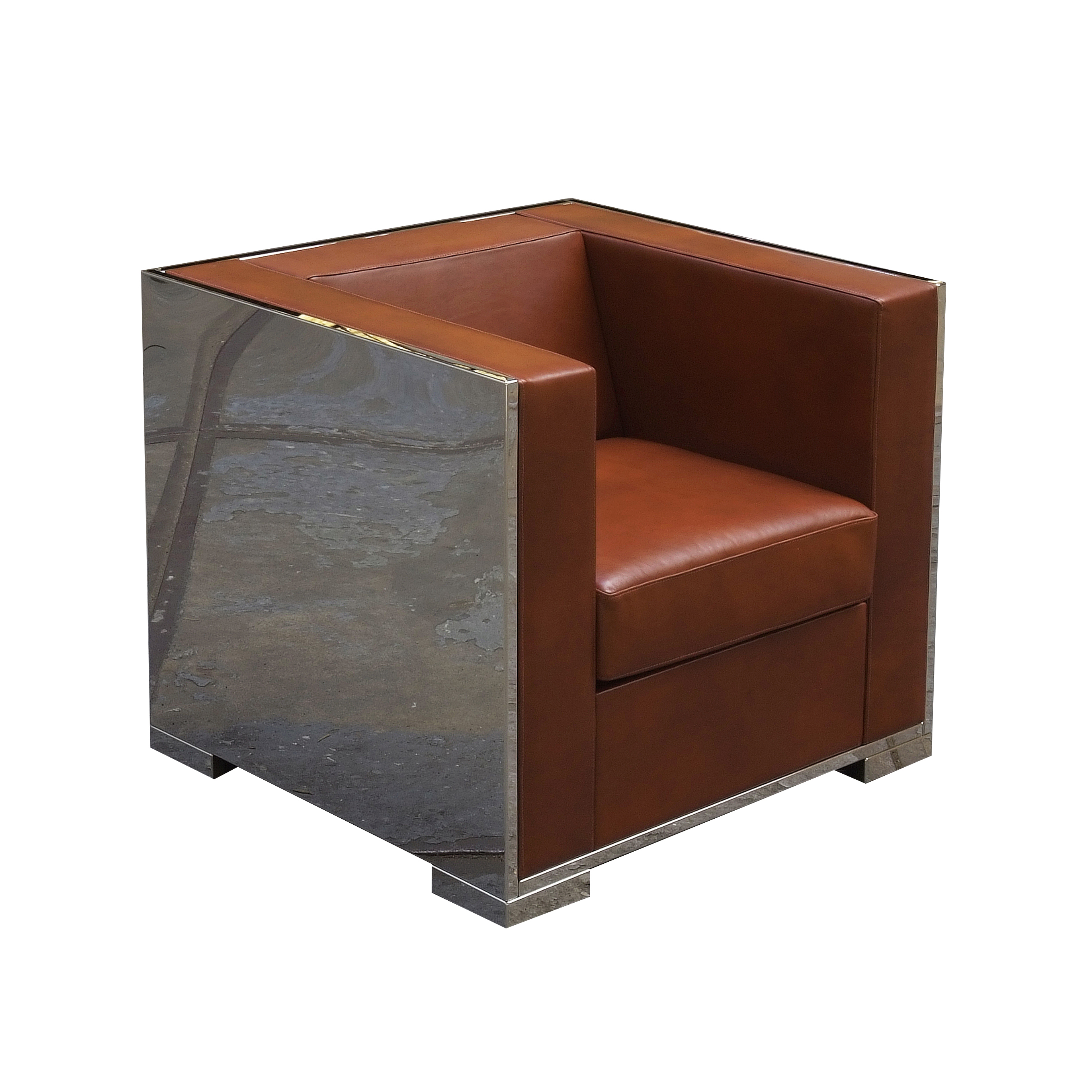 Glossy armchair with leather upholstery brown