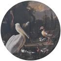 een-pelikaan-en-ander-gevogelte-bij-een-waterbassin-het-drijvend-veertje-melchior-d-hondecoetert