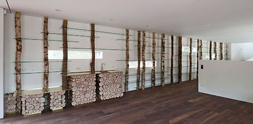 NLD, Niederlande, Buecherregal in einem Privathaus aus Birkenstaemmen und Glas, Designer: Piet Hein Eek, Architekten des Hauses: HILBERINKBOSCH architecten | NLD, Niederlande, shelf in a private home made of birch trunks and glass, design by Piet Hein Eek, architects of the building: HILBERINKBOSCH architecten