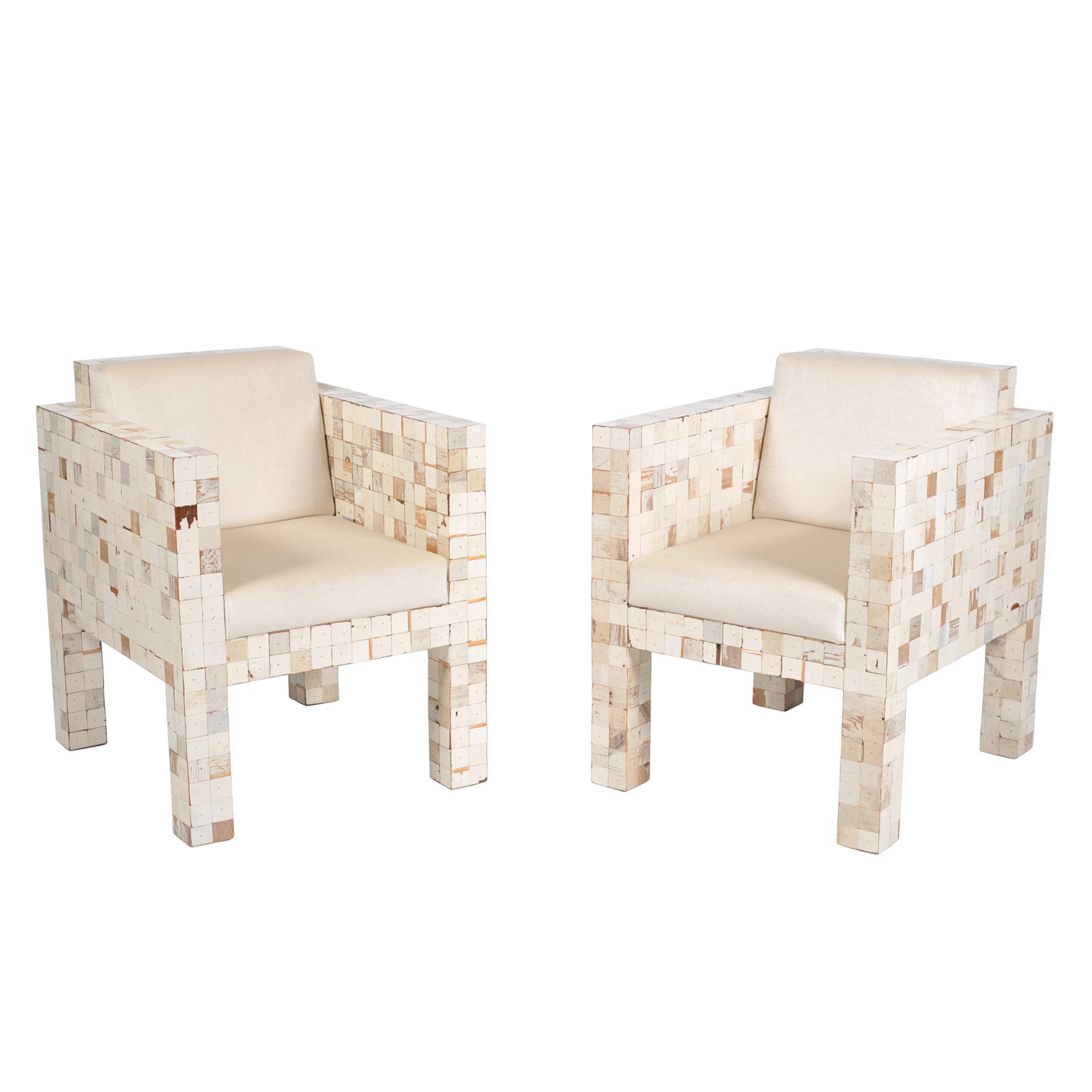 2 fauteuils witte bekleding
