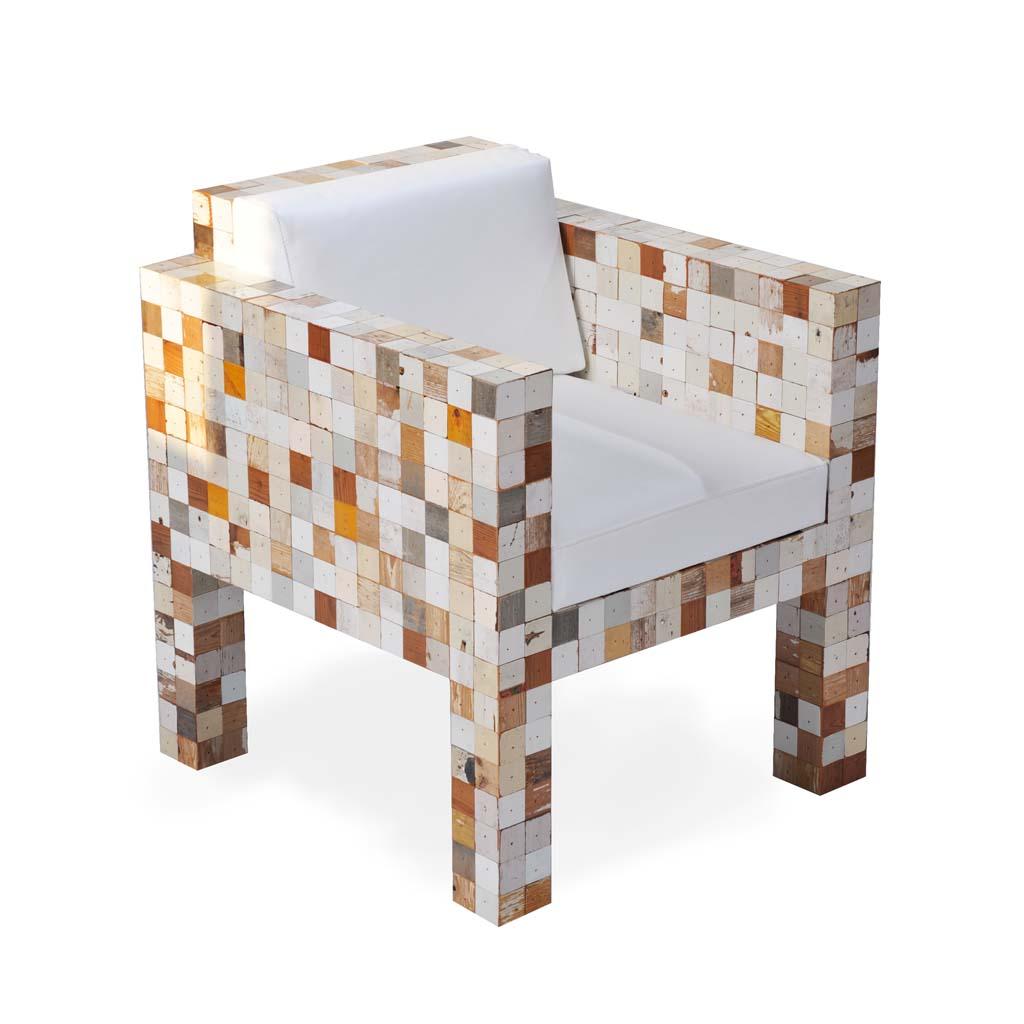 4040 fauteuil met witleren kussen