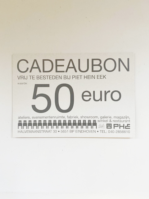 Cadeaubonnen van €20,- €50,- €75,-. Te besteden in zowel het Restaurant als de Winkel van Piet Hein Eek.