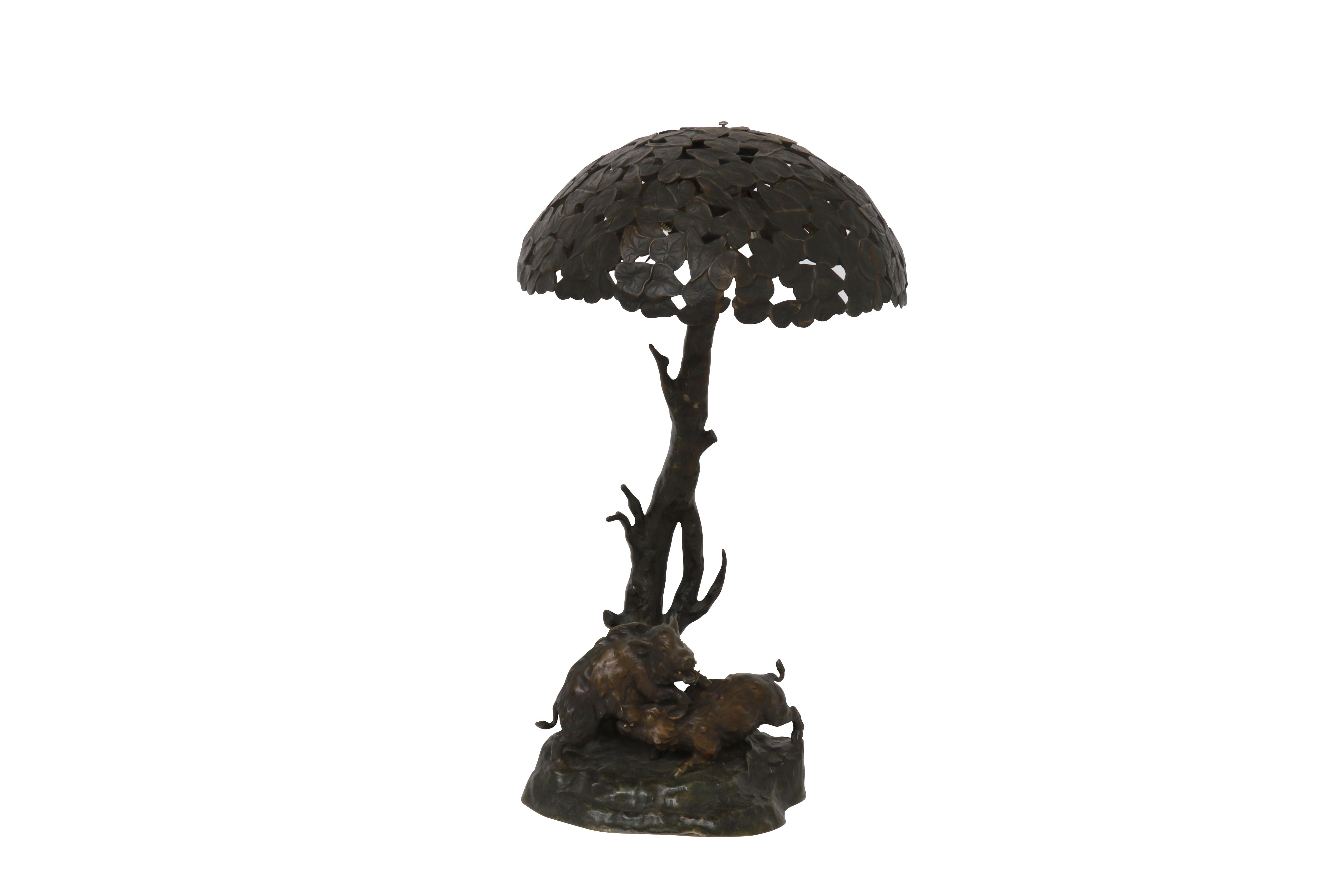 Gepatineerde Bronzen Tafellamp 1400,00 h. 56 cm – white