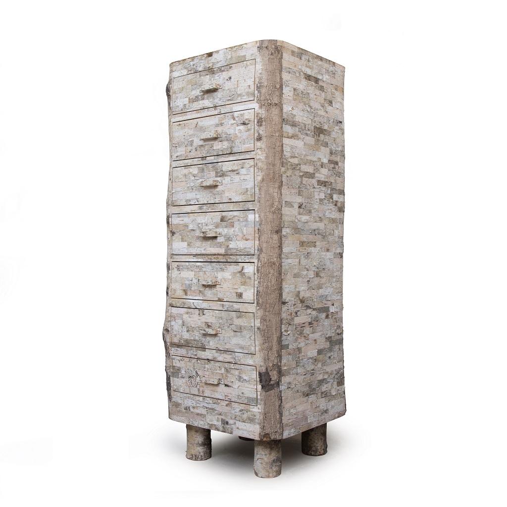Birch Bark Cabinet – diagonal-view – white-bg